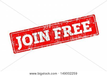 JOIN FREE written on red rubber stamp with grunge edges.