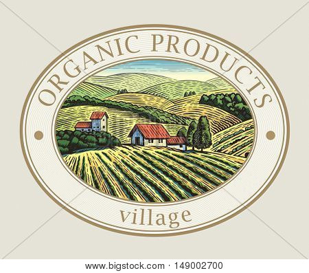 Rural landscape in the frame, a graphic design element for the create of the label or trademark.