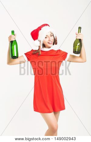 Christmas Pretty Sexy Girl With Glass Wine Bottles