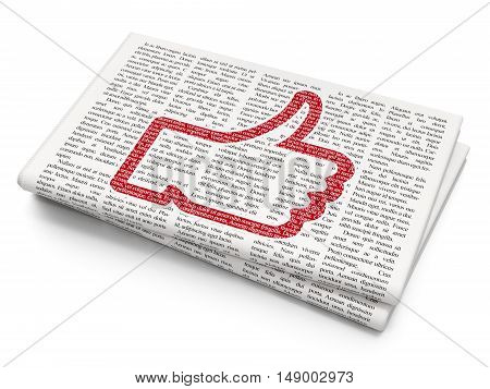 Social media concept: Pixelated red Thumb Up icon on Newspaper background, 3D rendering