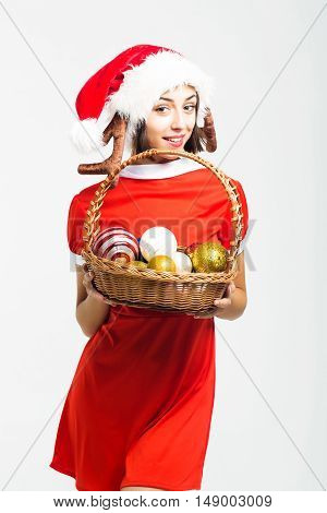 Christmas Pretty Sexy Girl With Decorative Balls