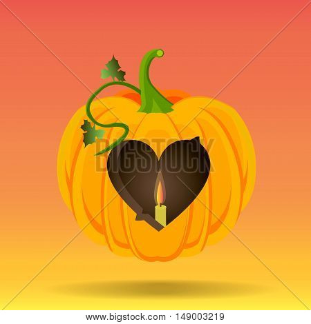 Vector illustration of a heart carved into a pumpkin and a candle.