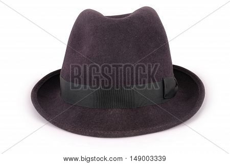 Black classic fedora hat isolated on white closeup with clipping path