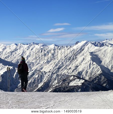 Women On Ski Slope In Winter Snow Mountain At Sun Day