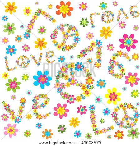Hippie wallpaper with colorful flowers and love lettering