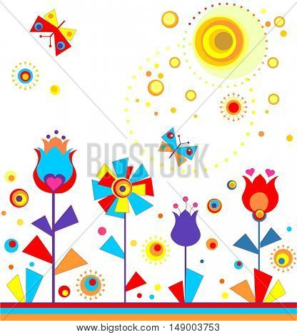 Childish applique with paper tulips, butterflies and sun