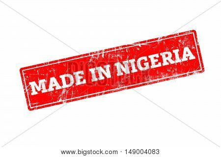 MADE IN NIGERIA, red rubber stamp with grunge edges.