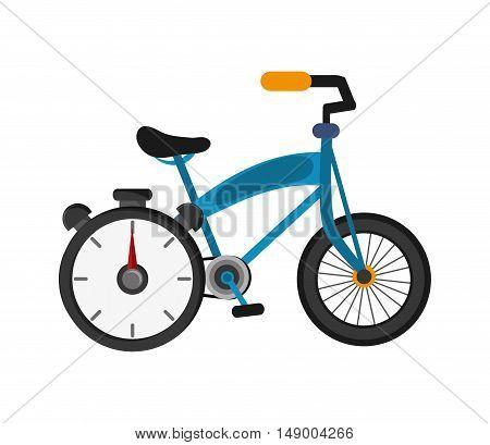 flat design bike and chronometer icon vector illustration