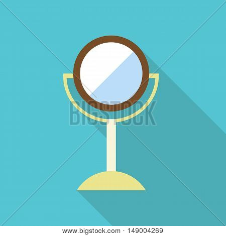 Round makeup mirror icon in flat style isolated with long shadow vector illustration