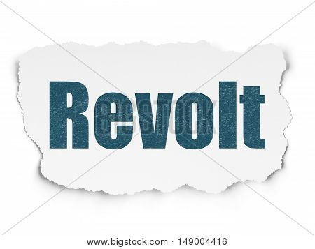 Political concept: Painted blue text Revolt on Torn Paper background with  Tag Cloud