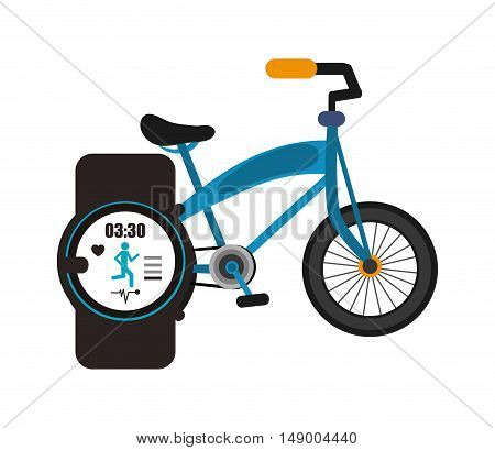 flat design bike and heart rate wrist monitor icon vector illustration