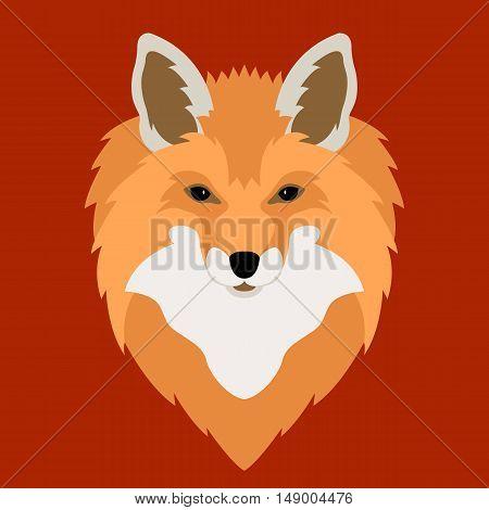 Fox head vector illustration style Flat side front