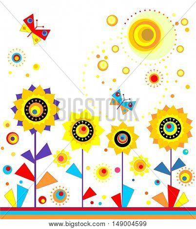 Childish applique with paper sunflowers, sun and butterflies