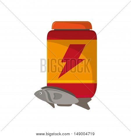 flat design protein powder supplement and fish  icon vector illustration