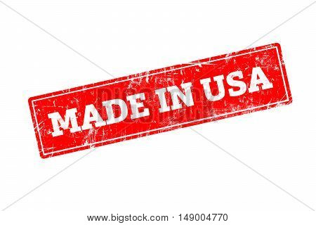 MADE IN USA, red rubber stamp with grunge edges.