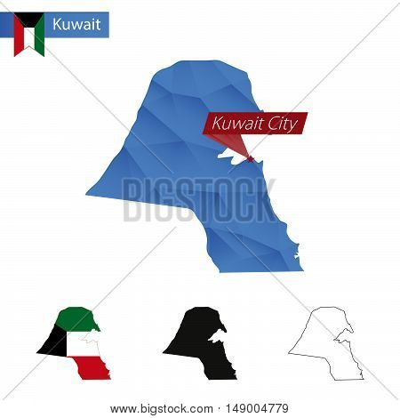 Kuwait Blue Low Poly Map With Capital Kuwait City.