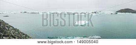 Panorama of Jokulsarlon with seagulls in Iceland