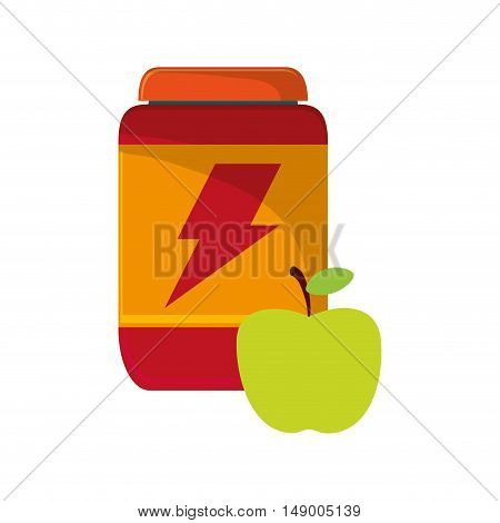 flat design protein powder supplement and apple  icon vector illustration