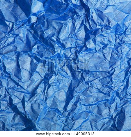 crumpled blue tissue paper texture for background