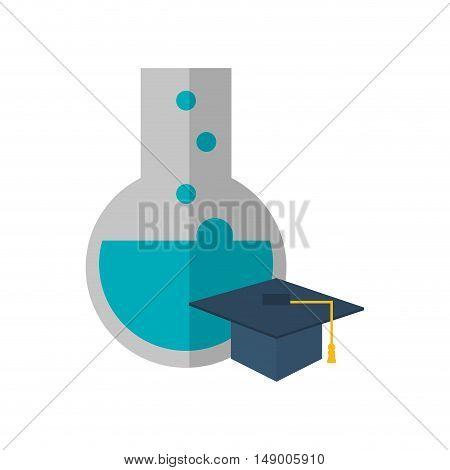 flat design round bottom chemistry flask and graduation cap icon vector illustration