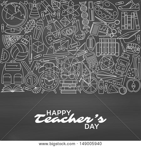 Happy Teachers Day background. Greeting card. Vector illustration.