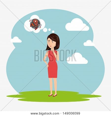 avatar woman thinking on barbecue meat steakhouse. colorful design.  vector illustration