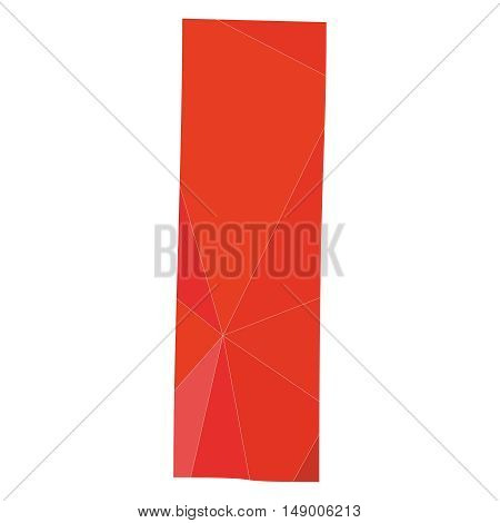 I red alphabet wrapping surface vector letter isolated on white background