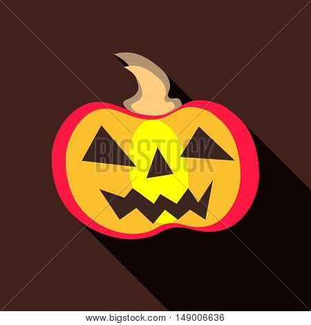 Halloween pumpkin icon in flat style isolated with long shadow vector illustration