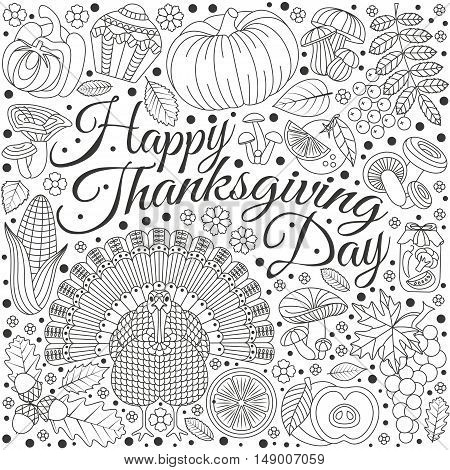 Thanksgiving day greeting card. Various elements for design. Cartoon vector illustration. Holiday background.