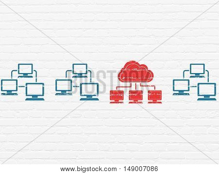 Cloud technology concept: row of Painted blue lan computer network icons around red cloud network icon on White Brick wall background