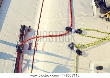 Control system staysail on sports yacht. Staysail sheet preparation