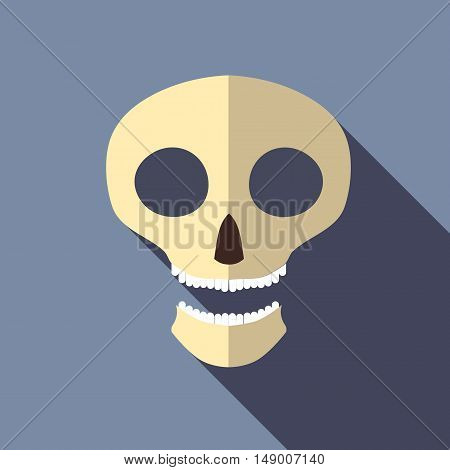 Scull icon in flat style isolated with long shadow vector illustration