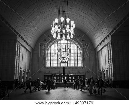 HELSINKI, FINLAND - SEPTEMBER 17: People at the hall of the Central Railway Station of Helsinki at September 17, 2016
