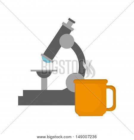 flat design microscope and mug  icon vector illustration