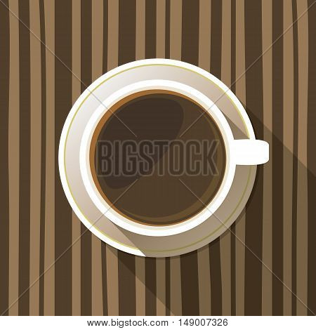 Coffee cup on a saucer flat icon top view. White mug full of coffee on striped background. Vector eps10 illustration.
