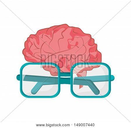 flat design brain and glasses  icon vector illustration
