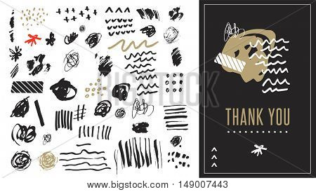 Black and white hand drawn vector shapes, stylish art elements, doodles