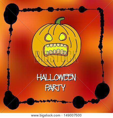Stock Vector Cards Template For Halloween Party. Hand Drawing Pumpkin. Splatter Frame. Text Inscript