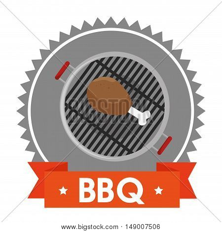 barbecue steakhouse with chicken leg grilled. colorful design. vector illustration