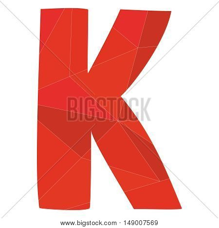 K red alphabet wrapping surface vector letter isolated on white background
