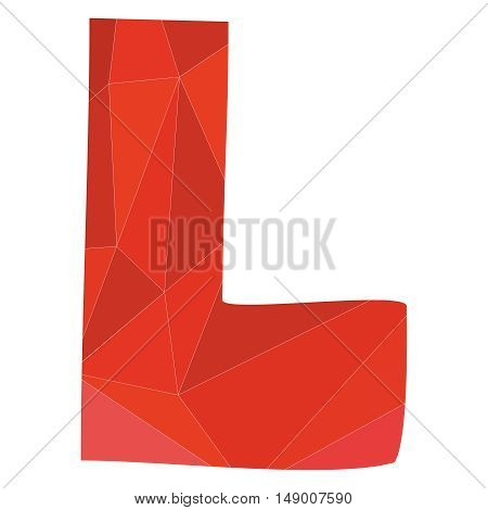 L red alphabet wrapping surface vector letter isolated on white background