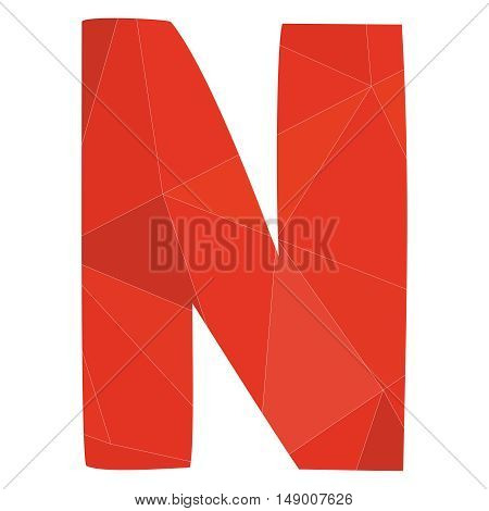 N red alphabet wrapping surface vector letter isolated on white background