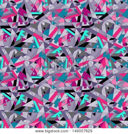 Abstract seamless geometric pattern made of triangles. Bright poster, colorful print texture.