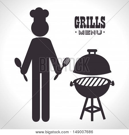 avatar man with barbecue steakhouse grill silhouette. vector illustration