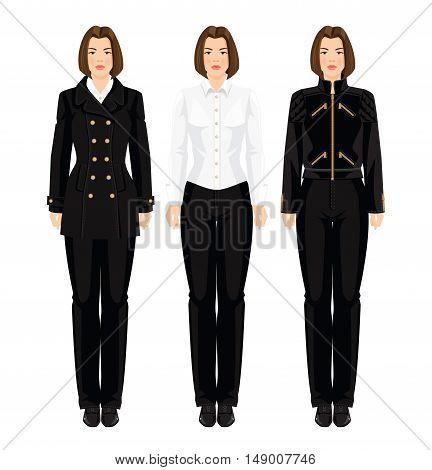 Brunette woman with bob haircut in uniform