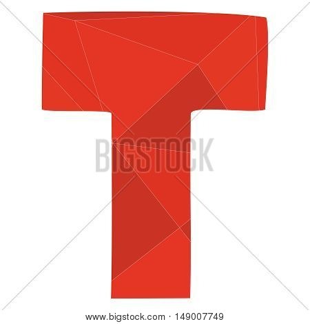 T red alphabet wrapping surface vector letter isolated on white background