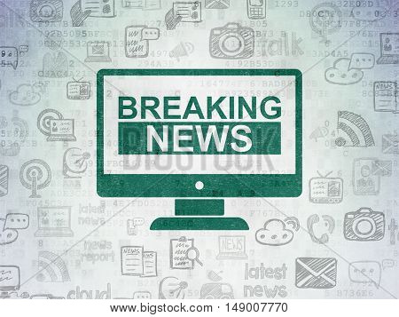 News concept: Painted green Breaking News On Screen icon on Digital Data Paper background with  Hand Drawn News Icons