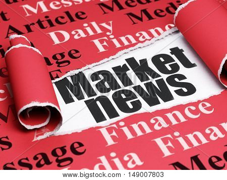 News concept: black text Market News under the curled piece of Red torn paper with  Tag Cloud, 3D rendering