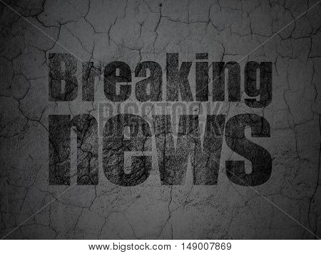 News concept: Black Breaking News on grunge textured concrete wall background