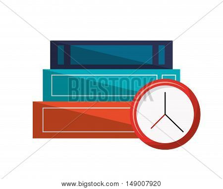 flat design books and clock  icon vector illustration